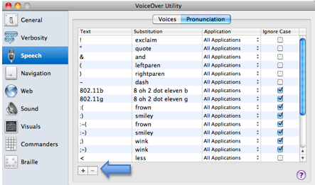 Pronunciation tab of Speech pane with Add button highlighted.