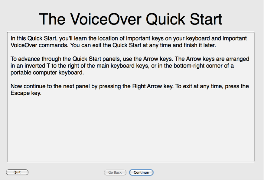 VoiceOver Quick Start Tutorial screen.