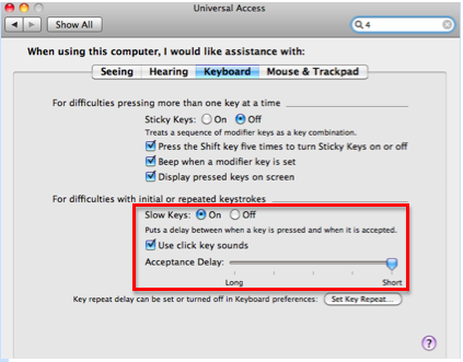 Keyboard pane of Universal Access window with Slow keys section highlighted.