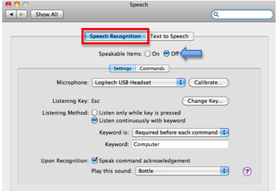 Speech recognition pane with Speakable Items section highlighted.