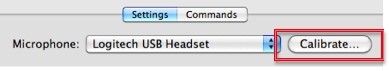 Calibrate button in Settings section of Speech Recognition pane.