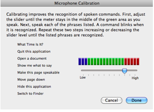 Microphone Calibration screen.