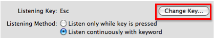 The Change Key button in the Speech Recognition pane.