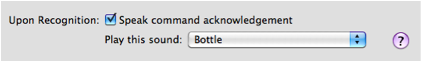 Command acknowledgement options in Speech Recognition pane.