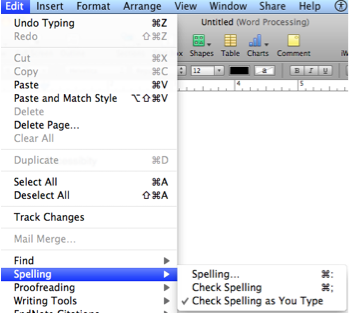 Pages Edit menu with Spelling selected.