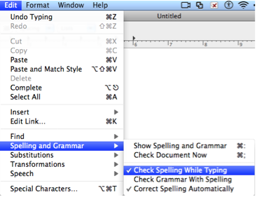 TextEdit Edit menu with Spelling and Grammar, Check Spelling While Typing selected.