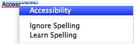 Contextual menu for misspelled word in TextEdit.