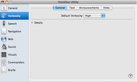 Verbosity pane of VoiceOver utility window.