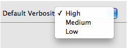 Three options for verbosity level: High, Medium, and Low.
