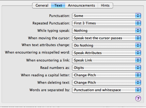 Options in Text tab of Verbosity pane.