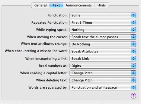 Options in Text tab of Verbosity pane.