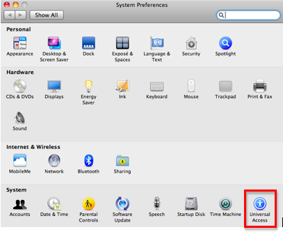 System Preferences window with Universal Access highlighted.