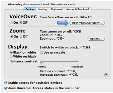 Seeing pane of Universal Access window with VoiceOver Utility button highlighted.