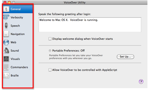 VoiceOver Utility window with table on left side of the window highlighted.