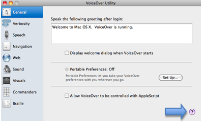 Help icon in lower right corner of VoiceOver Utility window.