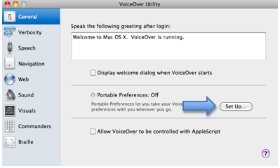 General pane of VoiceOver Utility window with Set Up button for Portable Preferences highlighted.