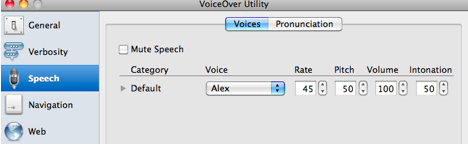 VoiceOver Utility window with Speech option selected=