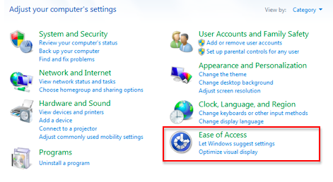 Ease of Access option selected in Control Panel.