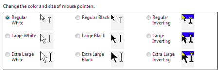 Options for changing cursor size and color.