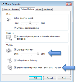 Mouse properties window with Pointer options pane selected.