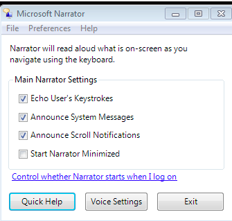 Narrator preferences window.