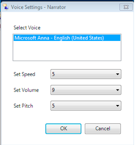 Narrator voice preferences window.