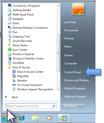 Start Menu with Control Panel link highlighted