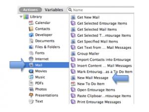 Automator window with Mail application and New Mail Message task highlighted.