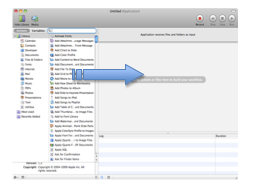 Dragging task to column on right side of Automator window.