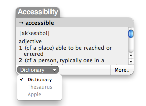 Dictionary popup window.