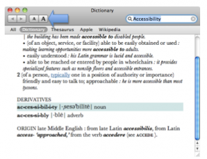 Dictionary window with text size buttons highlighted.