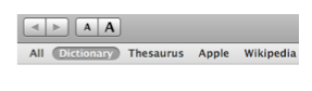 Dictionary window with links for Thesaurus and Wikipedia search.