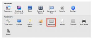 System Preferences with Keyboard option highlighted.