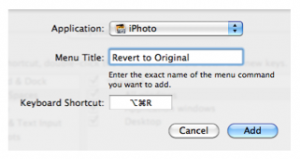 New shortcut window with Revert to Original entered for Menu Title.