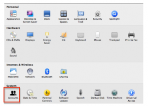 System Preferences window with Accounts highlighted.