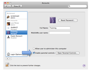 Accounts window with checkbox for enabling parental controls selected.