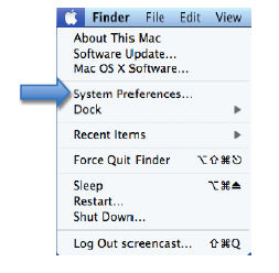 Apple menu with System Preferences option highlighted.