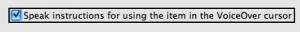 Checkbox with VoiceOver cursor focus.