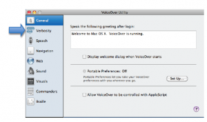 VoiceOver Utility window with options on left side of the window highlighted.