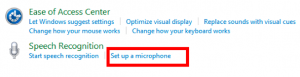 Ease of Access Center with Set up your microphone link highlighted.