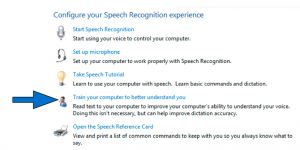 Configure Your Speech Recognition Experience screen with Train your computer to better understand you option highlighted.