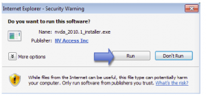 Internet Explorer Security Warning window. Select Run.
