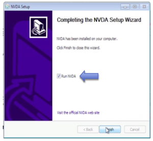 Final screen of NVDA setup wizard. Select Finish.