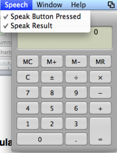 Mac OS X Calculator's Speech menu options: Speak Button Pressed and Speak Result.