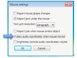 NVDA Mouse Settings window.