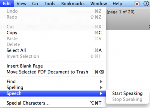 Preview Edit menu with Speech selected.