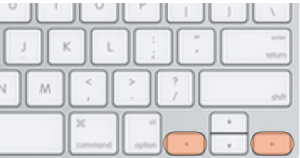 Keyboard layout with left and right arrow keys highlighted.