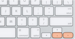 Keyboard layout with Down and Right Arrow keys highlighted.