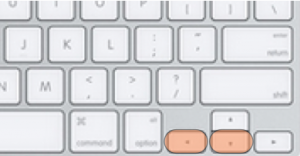 Keyboard with Down and Left Arrow keys highlighted.