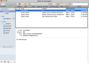 Apple Mail window with VoiceOver cursor on Messages list.
